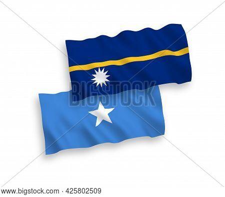 National Fabric Wave Flags Of Republic Of Nauru And Somalia Isolated On White Background. 1 To 2 Pro