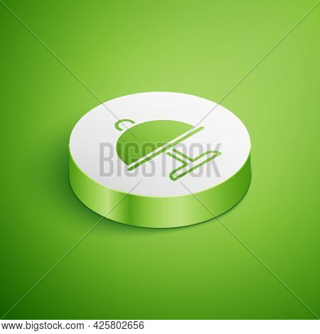 Isometric Covered With A Tray Of Food Icon Isolated On Green Background. Tray And Lid. Restaurant Cl