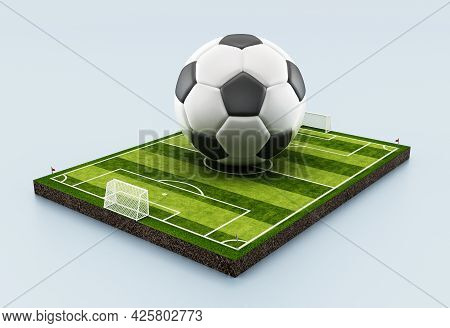 Soccer Ball Standing In The Middle Of The Pitch. 3d Illustration.