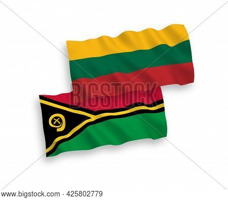 National Fabric Wave Flags Of Lithuania And Republic Of Vanuatu Isolated On White Background. 1 To 2