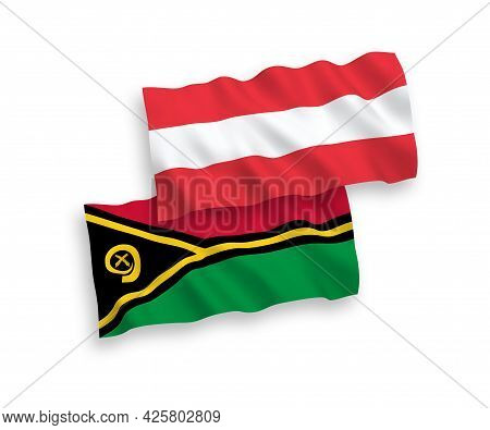 National Fabric Wave Flags Of Austria And Republic Of Vanuatu Isolated On White Background. 1 To 2 P