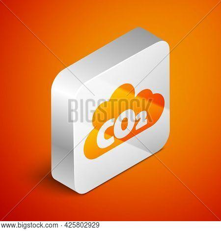 Isometric Co2 Emissions In Cloud Icon Isolated On Orange Background. Carbon Dioxide Formula, Smog Po