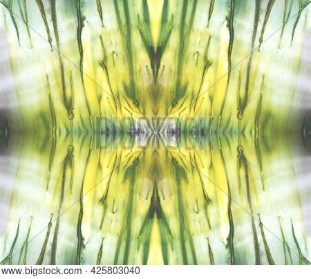Bright Symmetric Background. White, Green And Yellow Paint. Abstract Watercolor Painting.