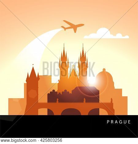 Linear Illustration Of Prague, Czech Republic. Sunset Minimalistic Design. Trendy Vector Illustratio