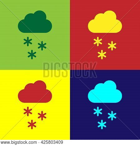 Pop Art Cloud With Snow Icon Isolated On Color Background. Cloud With Snowflakes. Single Weather Ico