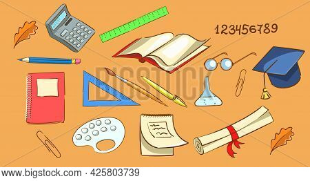 School Supplies In Bright Colors. Subjects For School Classes. Rulers, Calculator, Glasses, Scroll,