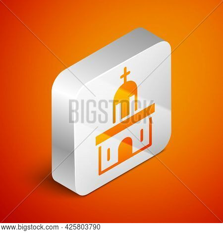 Isometric Church Building Icon Isolated On Orange Background. Christian Church. Religion Of Church.