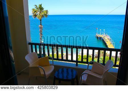 Panorama Of Beach At Kemer, Antalya, Turkey