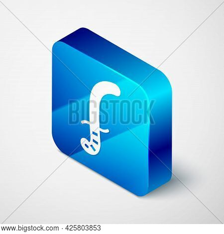 Isometric Medieval Sword Icon Isolated On Grey Background. Medieval Weapon. Blue Square Button. Vect