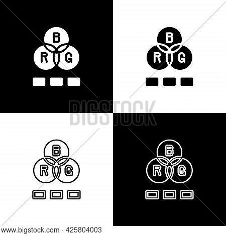 Set Rgb Color Mixing Icon Isolated On Black And White Background. Vector