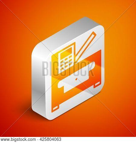 Isometric Office Multifunction Printer Copy Machine Icon Isolated On Orange Background. Silver Squar
