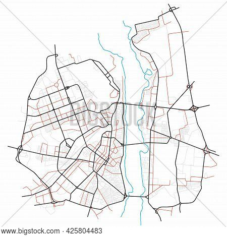 Voronezh City Map - Town Streets On The Plan. Map Of The  Scheme Of Road. Urban Environment, Archite