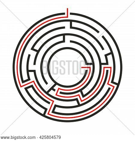 Education Logic Game Circle Labyrinth For Kids. Find Right Way. Isolated Simple Round Maze Black Lin