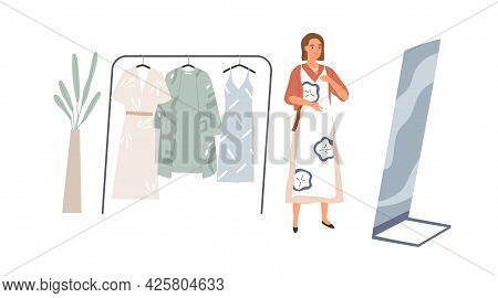 Young Woman Looking At Her Mirror Reflection, Choosing Dress To Wear. Female Character And Hanger Ra