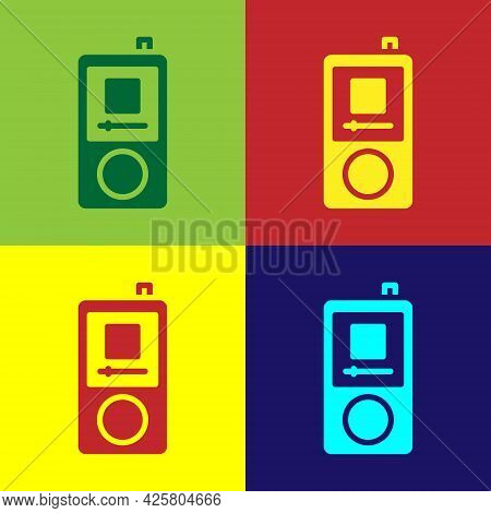 Pop Art Music Player Icon Isolated On Color Background. Portable Music Device. Vector