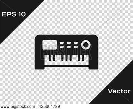 Black Music Synthesizer Icon Isolated On Transparent Background. Electronic Piano. Vector