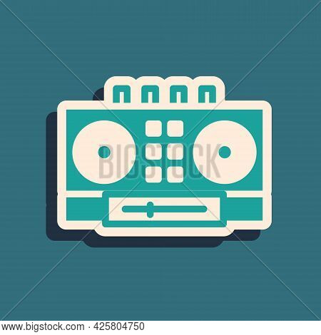 Green Dj Remote For Playing And Mixing Music Icon Isolated On Green Background. Dj Mixer Complete Wi