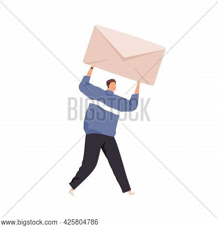 Tiny Person Holding Big Closed Envelope With Paper Letter. Concept Of Email Message Sending And Rece