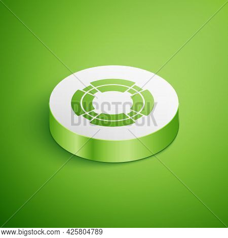 Isometric Business Lifebuoy Icon Isolated On Green Background. Rescue, Crisis, Support, Team, Partne
