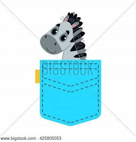 A Striped Zebra Horse Sits In A Blue Pocket. Cute Toddler Animal Peeks Out Of His Pocket. Vector Ill