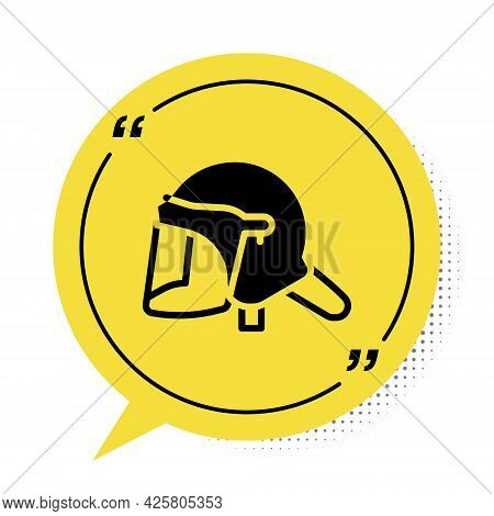 Black Police Helmet Icon Isolated On White Background. Military Helmet. Yellow Speech Bubble Symbol.