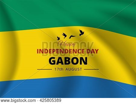 National Day Banner With Flag Of Gabon. Vector