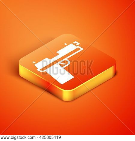 Isometric Pistol Or Gun Icon Isolated On Orange Background. Police Or Military Handgun. Small Firear