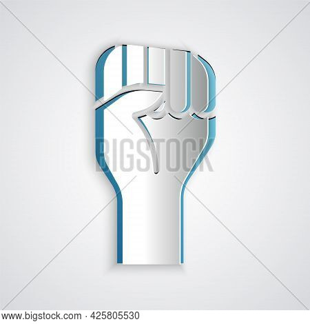 Paper Cut Raised Hand With Clenched Fist Icon Isolated On Grey Background. Protester Raised Fist At