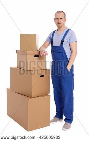 Handsome Loader Man With Heap Of Boxes Isolated On White Background