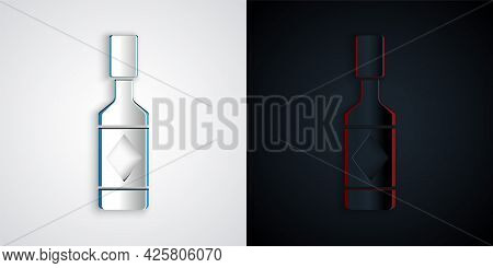 Paper Cut Tabasco Sauce Icon Isolated On Grey And Black Background. Chili Cayenne Pepper Sauce. Pape