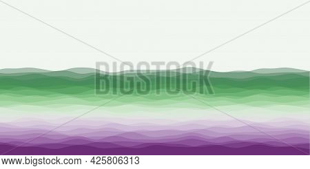 Abstract Waves Cover. Horizontal Background With Curves In Purple Red Green Colors. Radiant Vector I