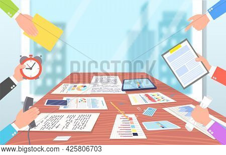 Business Meeting In Office A Lot Of Work. Workplace With Table, Phone, Tablets, Clip Pencil, Sheet W