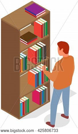 Man Pulls Out Book From Shelf. Person Works With Textbooks. Male Student Takes Book In Closet. Carto