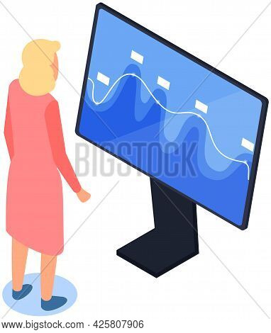 Office Worker Looking At Screen Display With Graphics, Statistics. Businesswoman Analysing Statistic