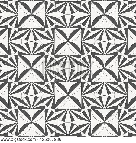 Geometric Vector Pattern, Repeating Diamond Shape, Abstract Flower And Circle With Stripe Linear On