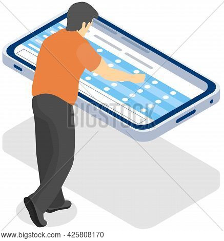 Guy Is Looking At Mobile Phone Screen. Smartphone Showing Plan Or Schedule On Screen. Male Character