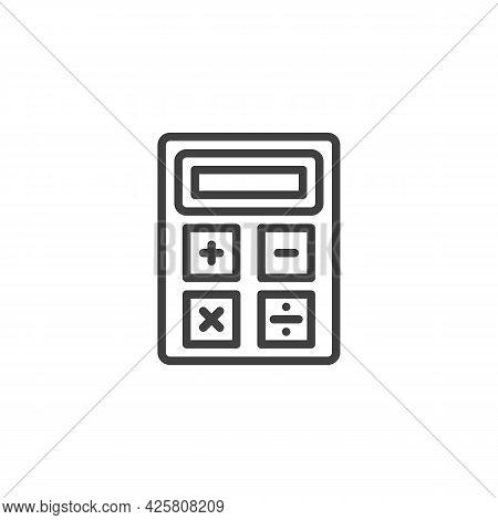 Calculator Line Icon. Linear Style Sign For Mobile Concept And Web Design. Calculator Outline Vector