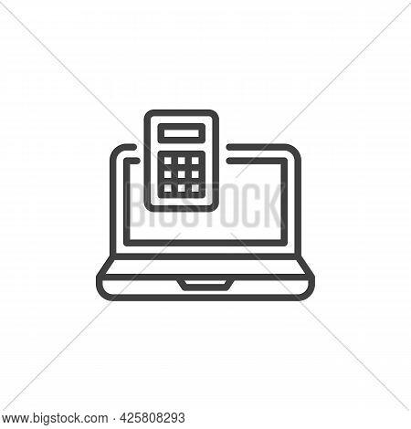 Online Calculator Line Icon. Linear Style Sign For Mobile Concept And Web Design. Laptop And Calcula
