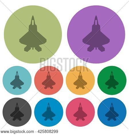 Jet Fighter Silhouette Darker Flat Icons On Color Round Background