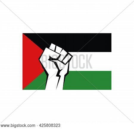 Clenched Fist Against The Background Of The Flag Of Palestine. A Symbol Of Freedom And Military Resi