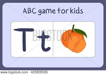 Kid Alphabet Mini Games In Cartoon Style With Letter T - Tangerine. Vector Illustration For Game Des