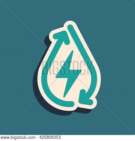 Green Water Energy Icon Isolated On Green Background. Ecology Concept With Water Droplet. Alternativ