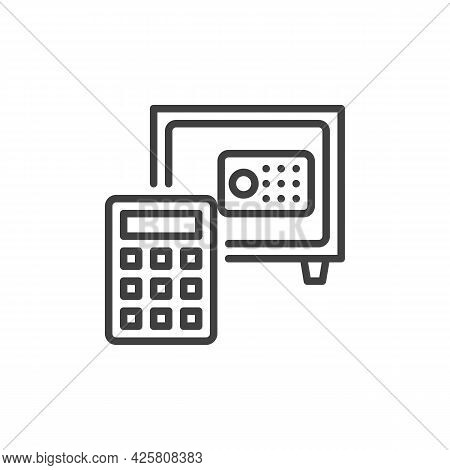 Deposit Calculator Line Icon. Linear Style Sign For Mobile Concept And Web Design. Safe Box And Calc