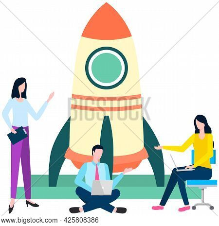 Female Employee Working With Startup, Business Development. Launch Of Project, Successful Business S