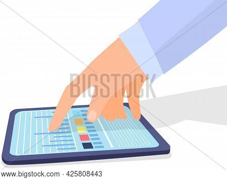 Fingers Touching Tablet With Diagram Color Table And Lines On Screen. Modern Tool On White Backgroun