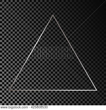 Silver Glowing Triangle Frame Isolated On Dark Transparent Background. Shiny Frame With Glowing Effe