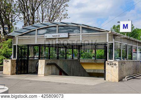 Bucharest, Romania - 4 May 2021: Main Entry To Timpuri Noi Metro Station