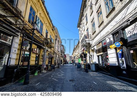 Bucharest, Romania - 27 March 2021: Old Buildings In The Historical Center In A Sunny Spring Day