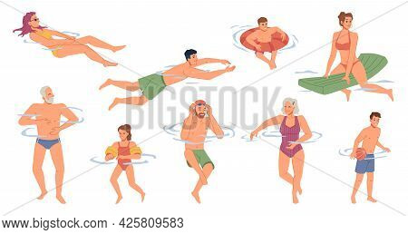 People In Swimsuits Swimming In Pool, River, Sea Ocean Waters Isolated Flat Cartoon Characters Set.