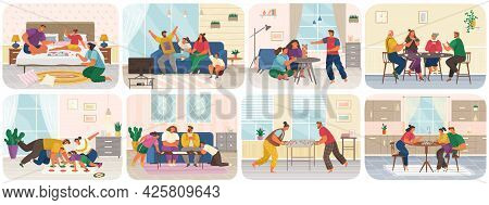 Set Of Illustrations About Friendly Family With Board Games At Home. Parents And Children Spend Time